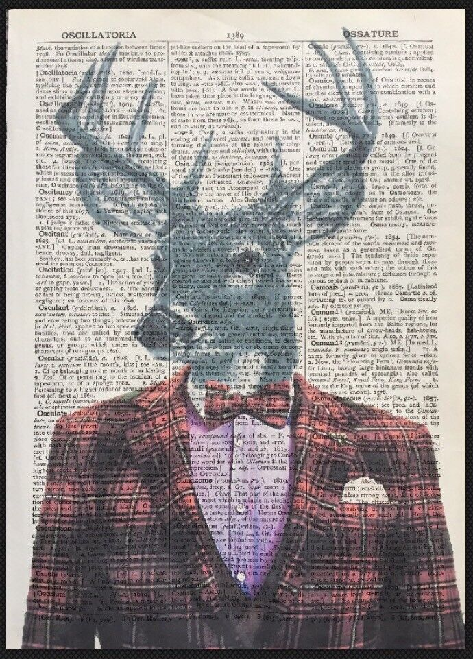 Vintage Stag Deer Head Print Dictionary Page Wall Art