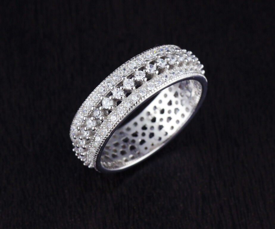 silver cz round eternity engagement wedding band ring 6mm ebay