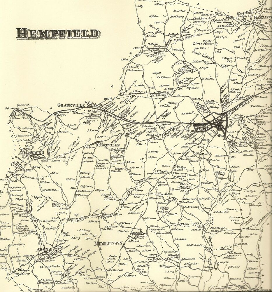 Hempfield New Stanton Youngwood Hannastown PA 1867 Maps Landowners Names  Shown | eBay