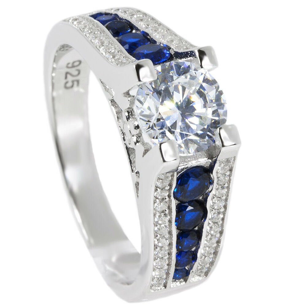 Thin Blue Line Engagement Ring 6 5mm Round AAA CZ Sterling Silver Blue Sapphi