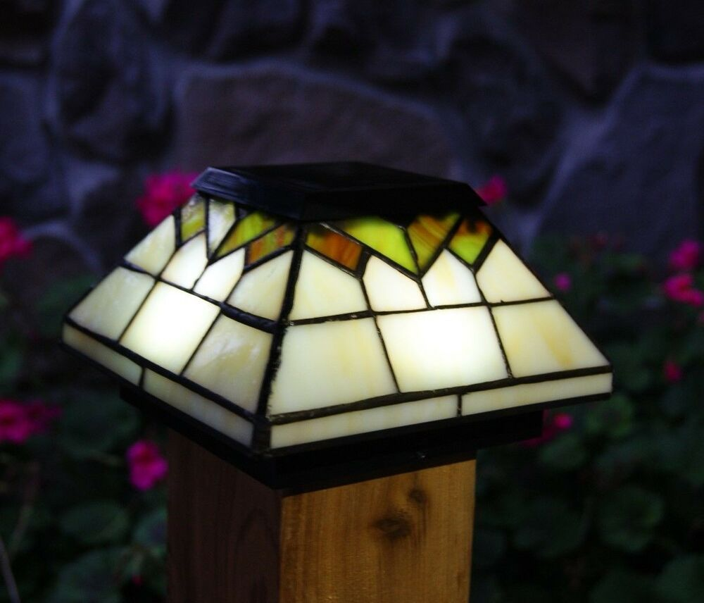 solar post cap led deck fence lights stained glass 5x5 4x4 ebay. Black Bedroom Furniture Sets. Home Design Ideas