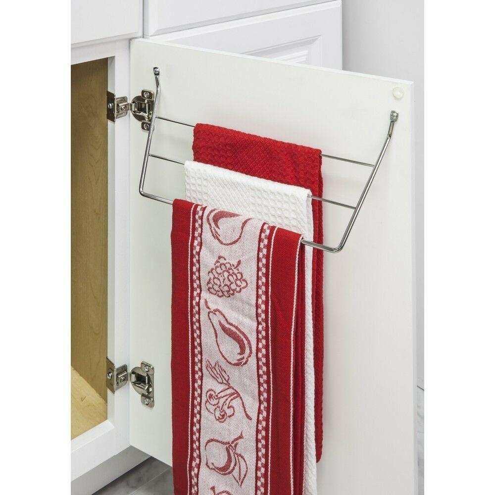 Kitchen Towel Hooks For Towels: CHROME DISH TOWEL HOLDER MOUNTS TO KITCHEN CABINET DOOR