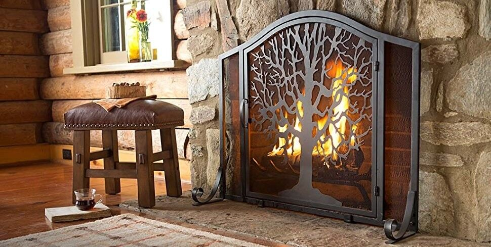 Fireplace Design large fireplace screen : Fireplace Decorative Wood Hand Painted Screen Ebay Glass Fireplace ...