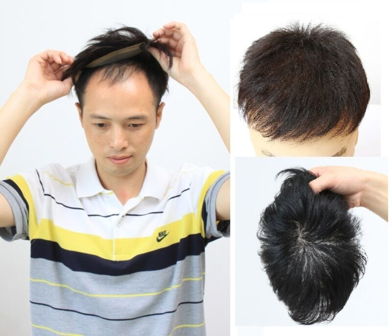 Hairpiece human hair replacement system toupee free style ...