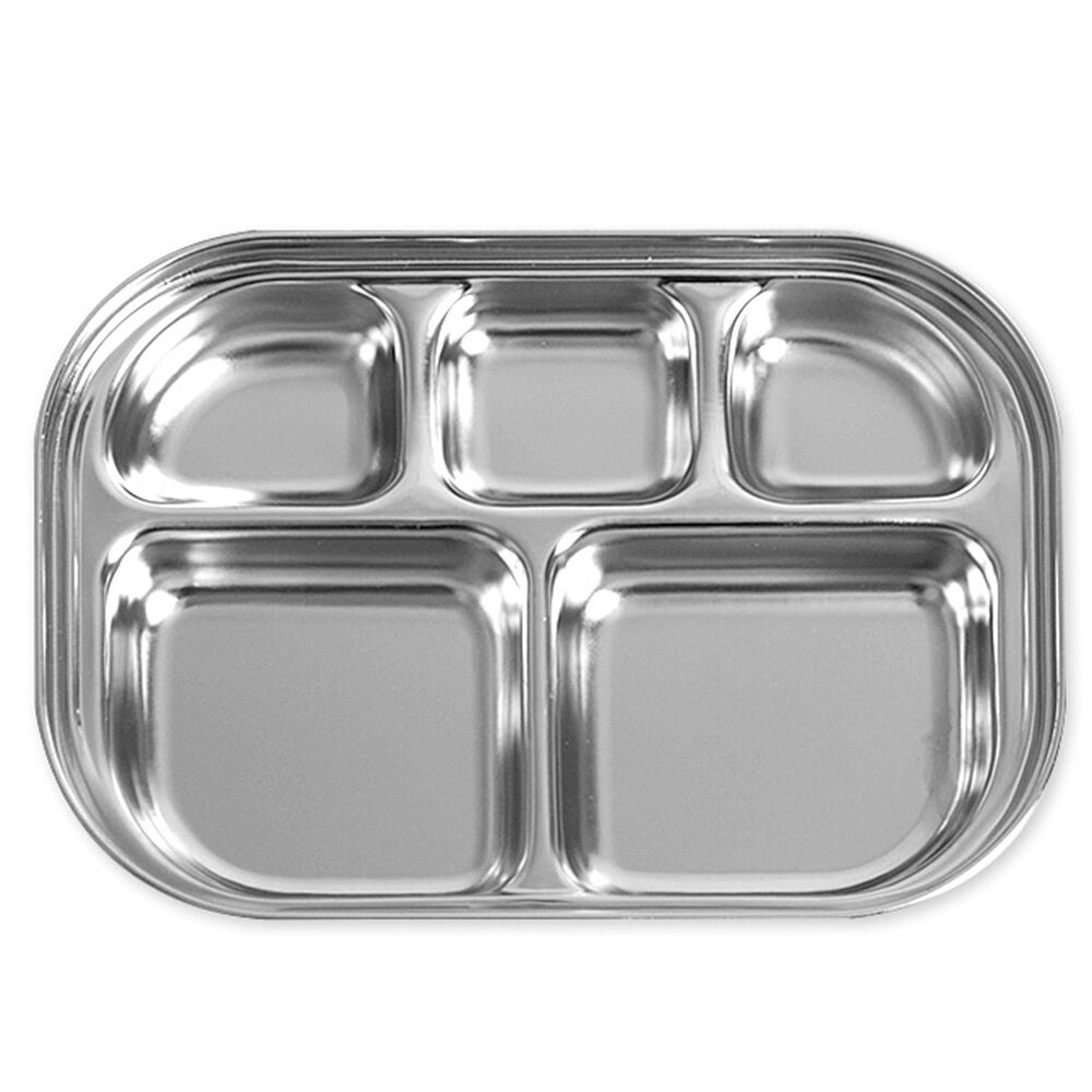 divided stainless steel food snack tray lunch box portion plate infant kid ebay. Black Bedroom Furniture Sets. Home Design Ideas