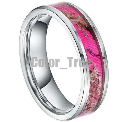 Pink And Black Tungsten Ring: 5MM Mens Women Pink Tungsten Carbide Maple Leaf Image Camo