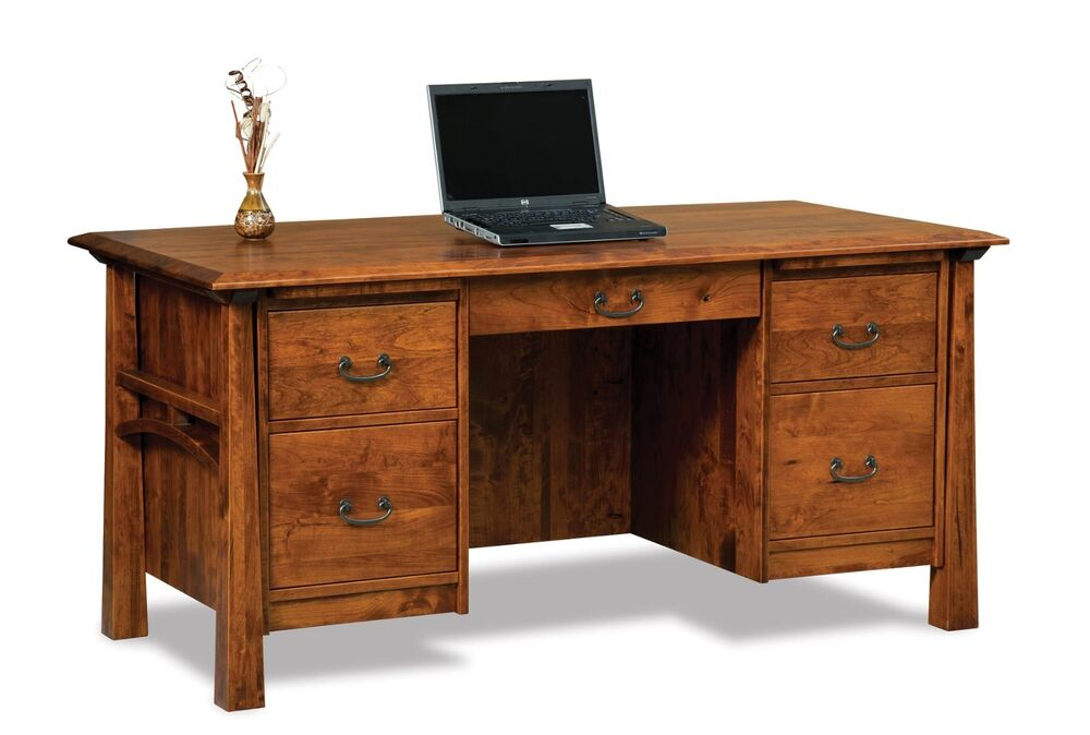 Amish mission computer file desk solid wood artesa office for Solid oak furniture