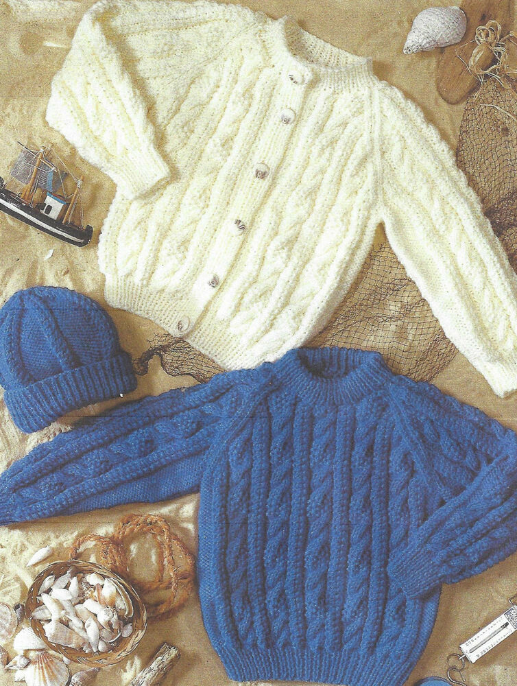 Free Knitting Pattern For Childs Aran Hat : BABY ARAN HAT CARDIGAN & SWEATER KNITTING PATTERN 20/30 INCH ( 452) eBay
