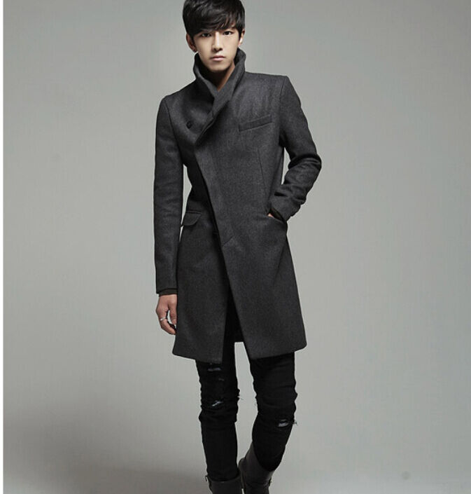 Korean Men 39 S Fashion Woollen Blend Slim Fit Trench Jacket