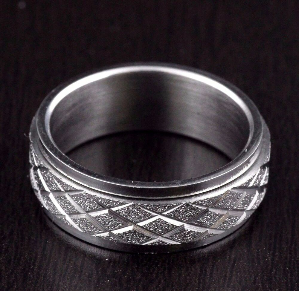 Unisex Mens Womens Stainless Steel Diamond Cut Rolling Wedding Band Ring 8mm | EBay