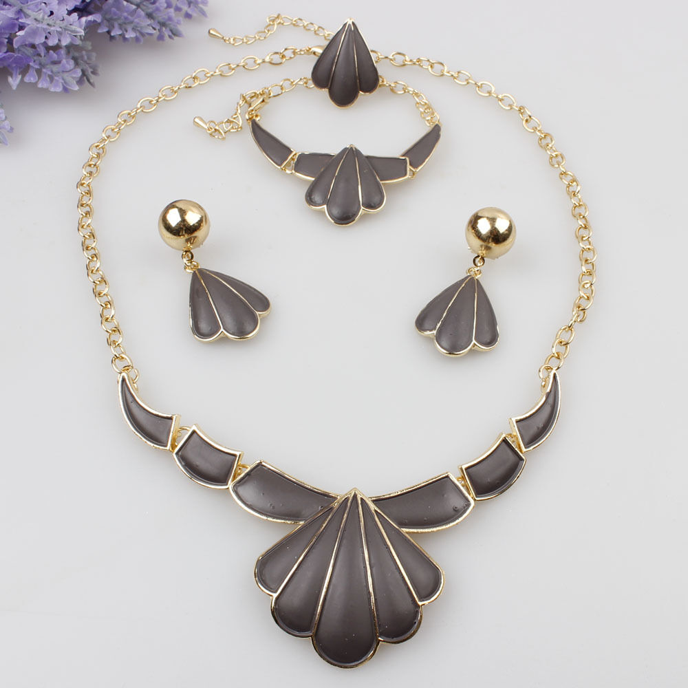Fashion Women Statement Jewelry Sets Gold Plated Necklace ...