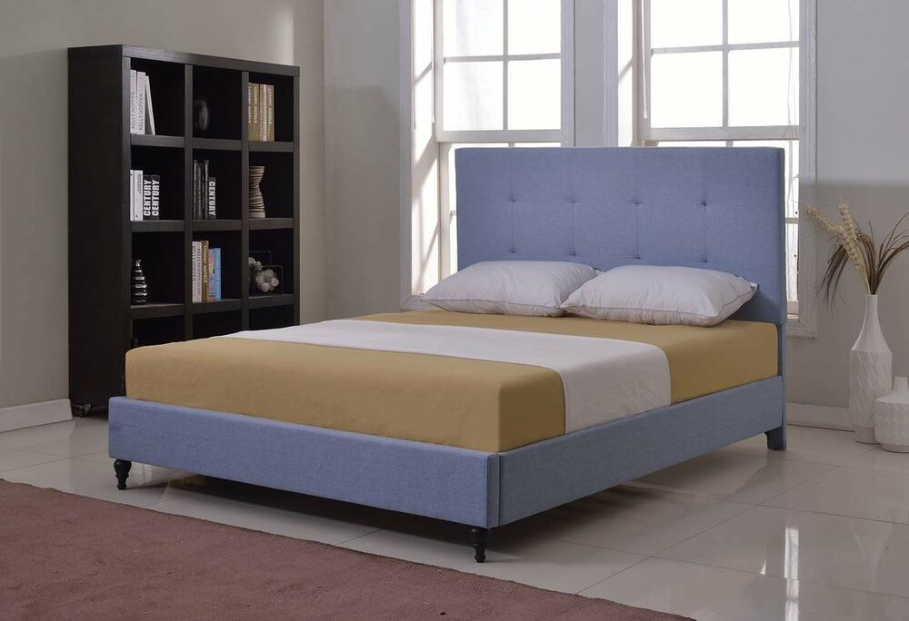 Lt Blue Upholstered Queen Size Platform Bed Frame Amp Slats