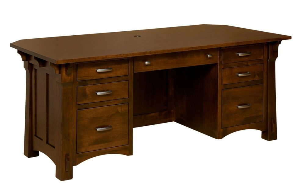 Amish Mission Manitoba Executive Computer Desk Solid Wood