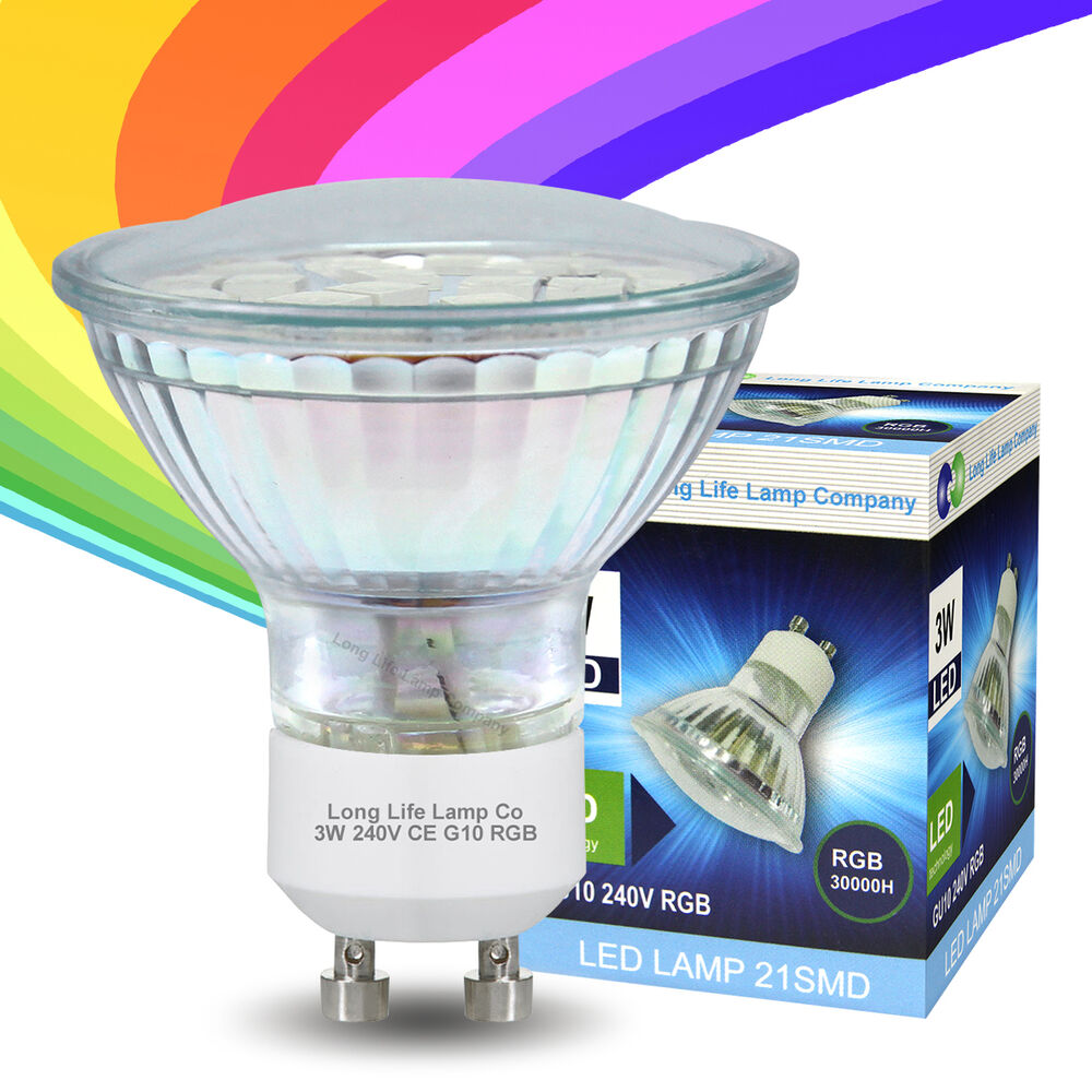 3w led gu10 automatic colour change red green blue rgb light bulb ebay. Black Bedroom Furniture Sets. Home Design Ideas