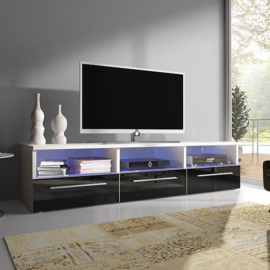 lowboard ii mit beleuchtung led tv tisch sideboard tv schrank hochglanz elegant ebay. Black Bedroom Furniture Sets. Home Design Ideas