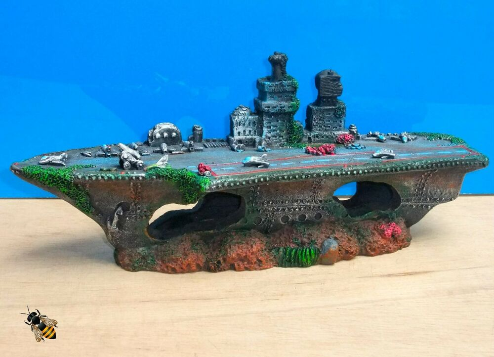 Aircraft carrier shipwreck battle ship aquarium ornament for Aquarium decoration shipwreck
