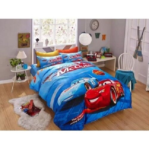 Lightning McQueen Cars Twin u0026 Queen Size Duvet Cover Bedding Set Boys : eBay