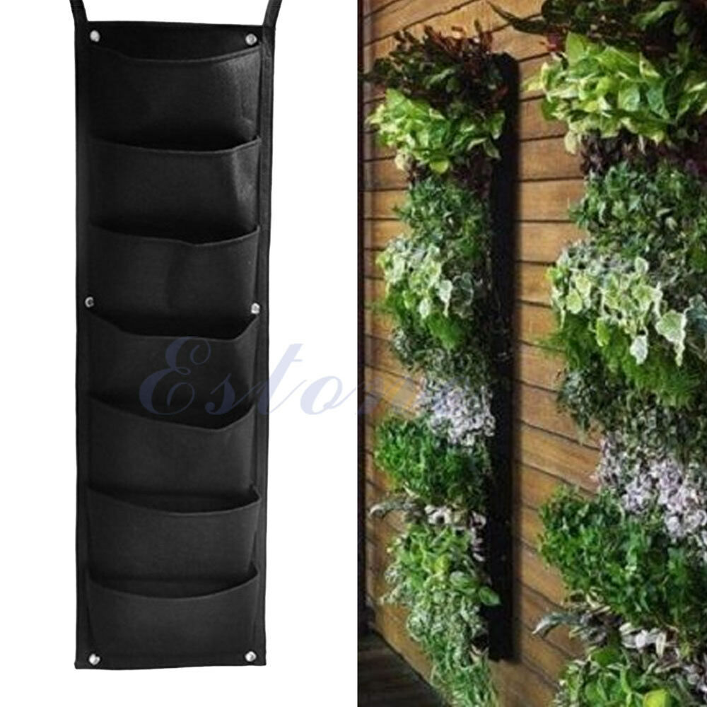 7 pocket hanging vertical garden planter indoor outdoor for Decoration jardin balcon
