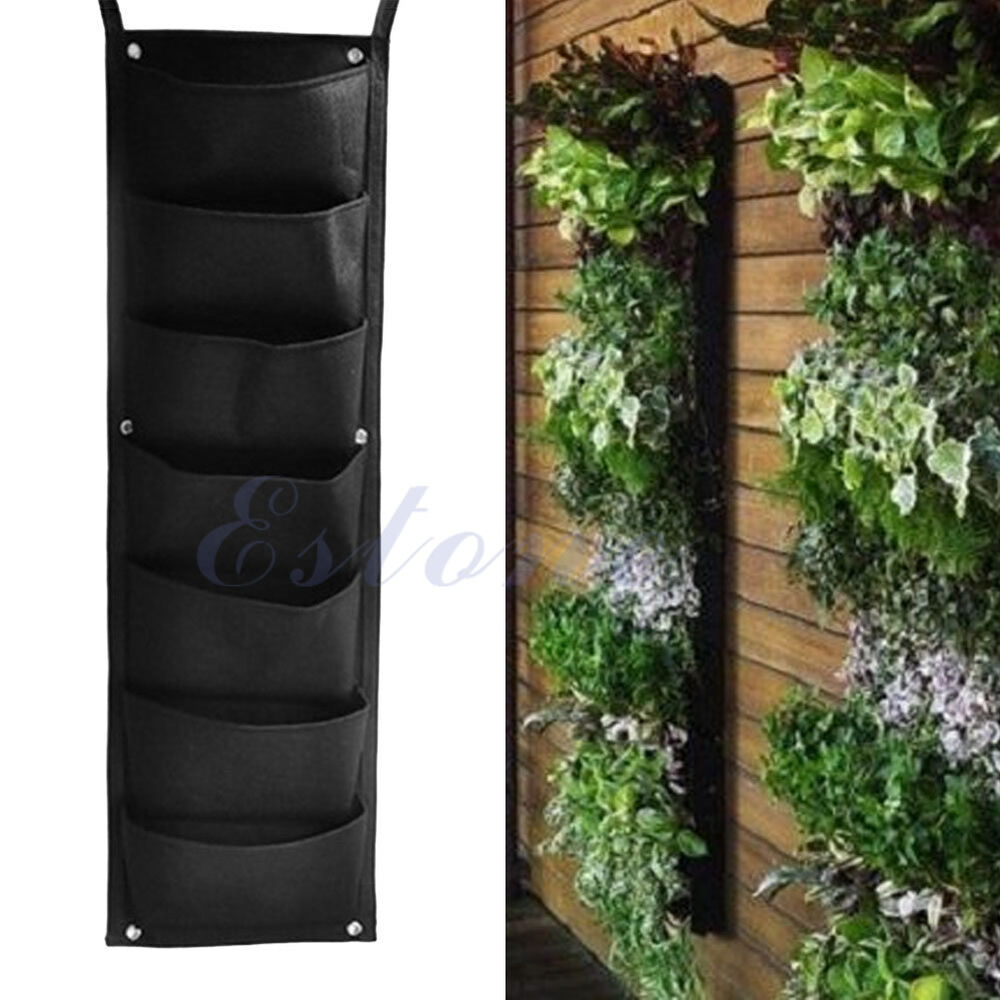 7 pocket hanging vertical garden planter indoor outdoor decoration herb pot ebay - Wall mounted planters outdoor ...