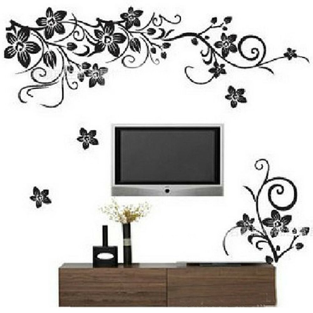 Wall Art Home Decor Murals ~ Wall stickers vine butterflies removable decor vinyl decal