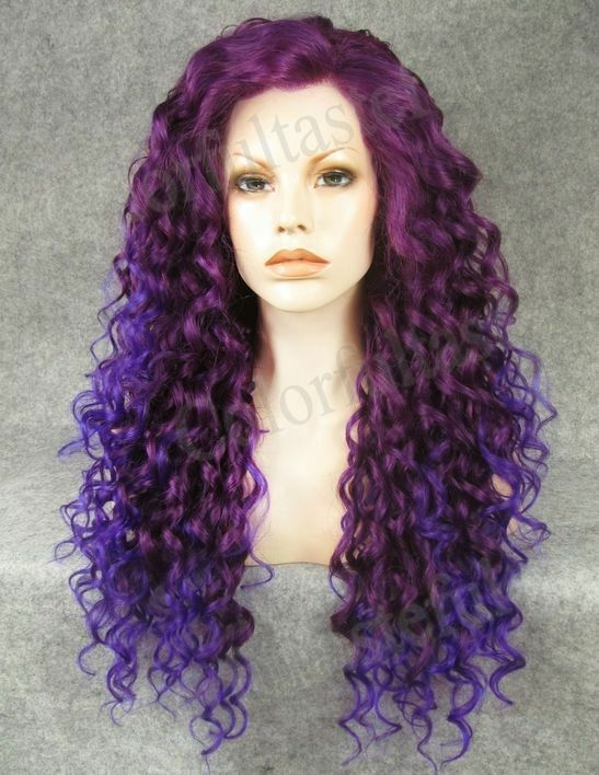 26 Quot Lace Front Ombre Purple Long Wavy Curly Synthetic Hair Women Full