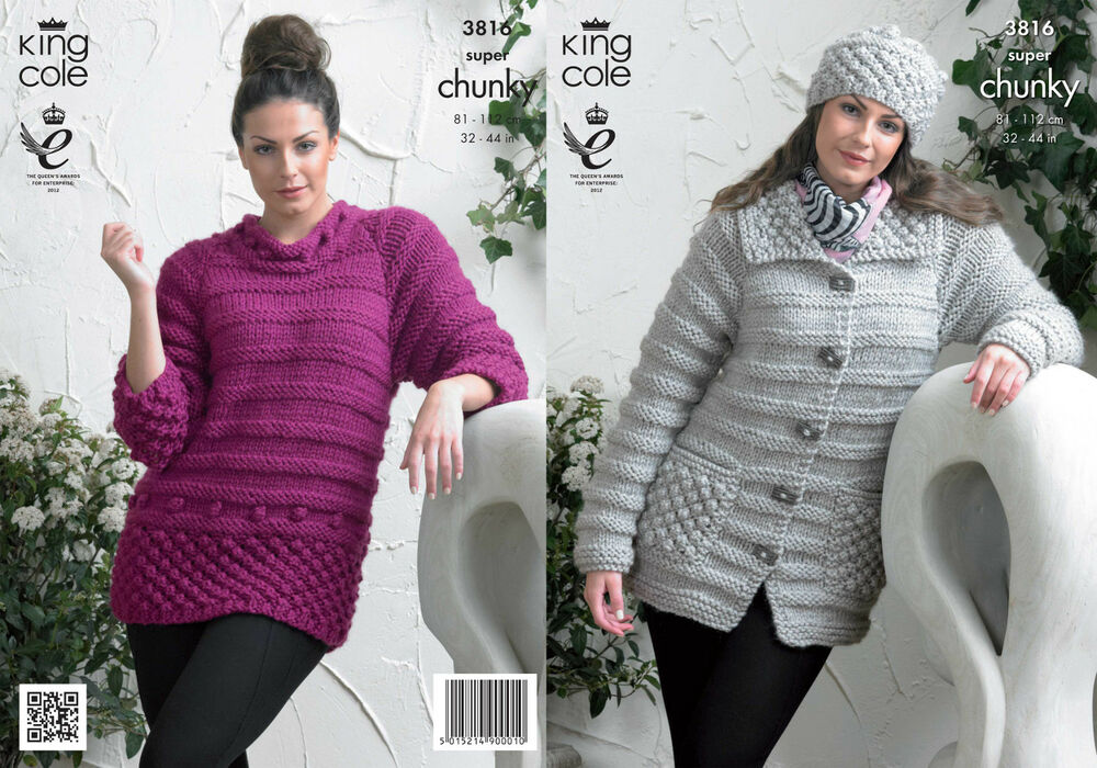 King Cole Campervan Knitting Pattern : King Cole Ladies Knitting Pattern Womens Super Chunky Jacket Sweater Hat 3816...