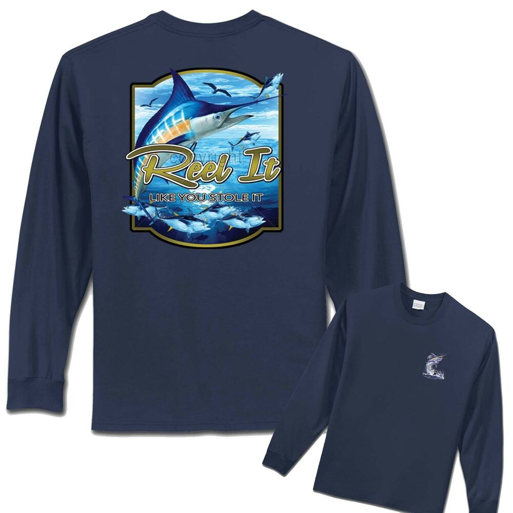 Fishing t shirt mexico big tuna marlin mens long sleeve for Mens fishing shirts