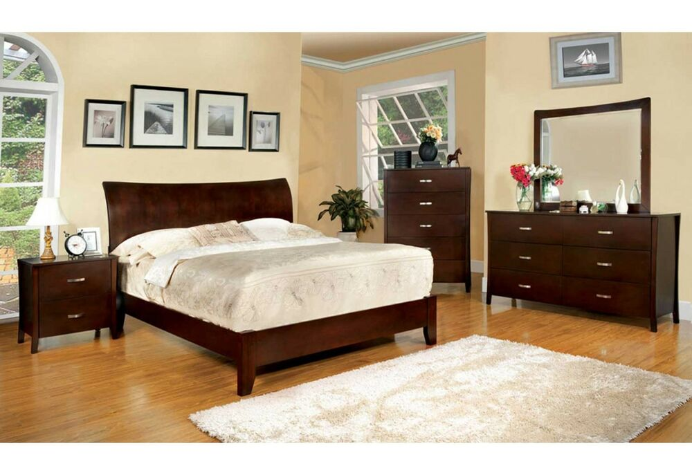 Midland contemporary brown cherry finish bedroom set bed - Bedroom sets with mirror headboard ...