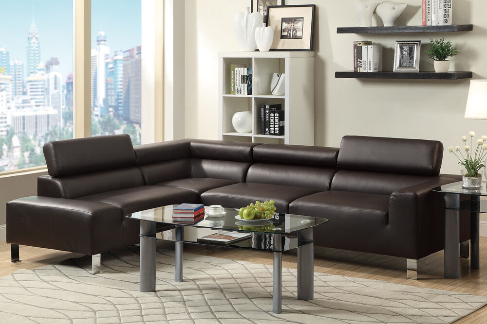 Modern Sectional Couch Bonded Leather Sofa Set Espresso