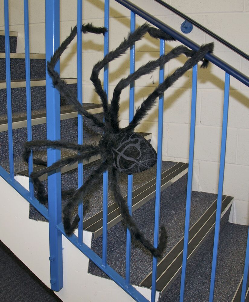 Huge 50 giant furry spider tarantula black bendable for Animated spider halloween decoration