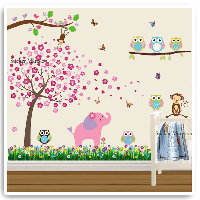 Owl animal wall stickers elephant zoo jungle tree nursery for Baby jungle safari wall mural