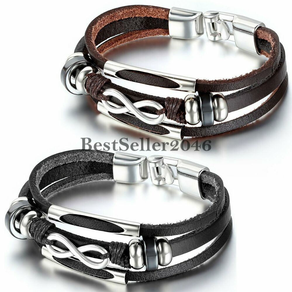 Leather Bracelet With Charms: Infinity Love Charm Wrap Leather Men's Women's Friendship