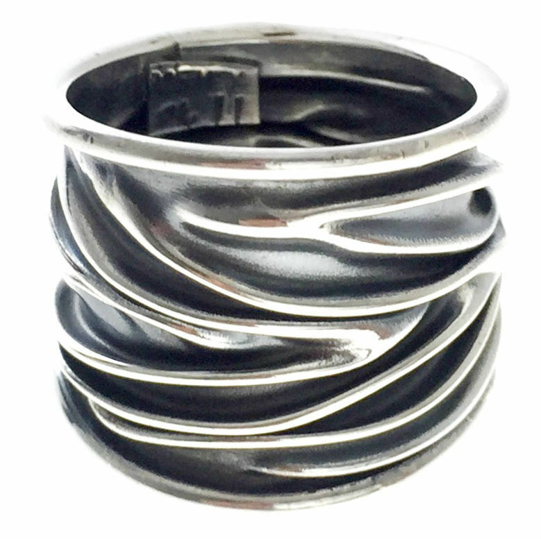 taxco mexican 925 sterling silver deco textured ring