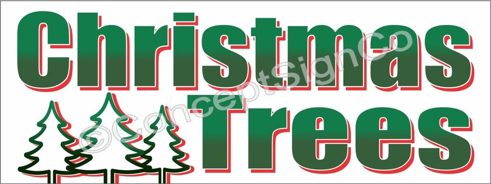 3 39 x8 39 christmas trees banner outdoor sign large holiday for Large outdoor christmas signs