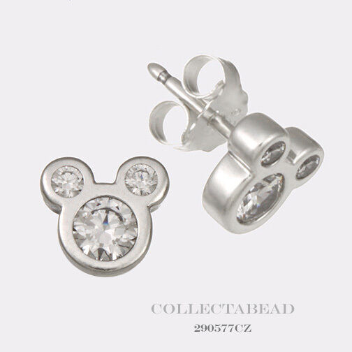 Pandora Silver Stud Earrings: Authentic Pandora Sterling Silver Disney Mickey CZ Stud
