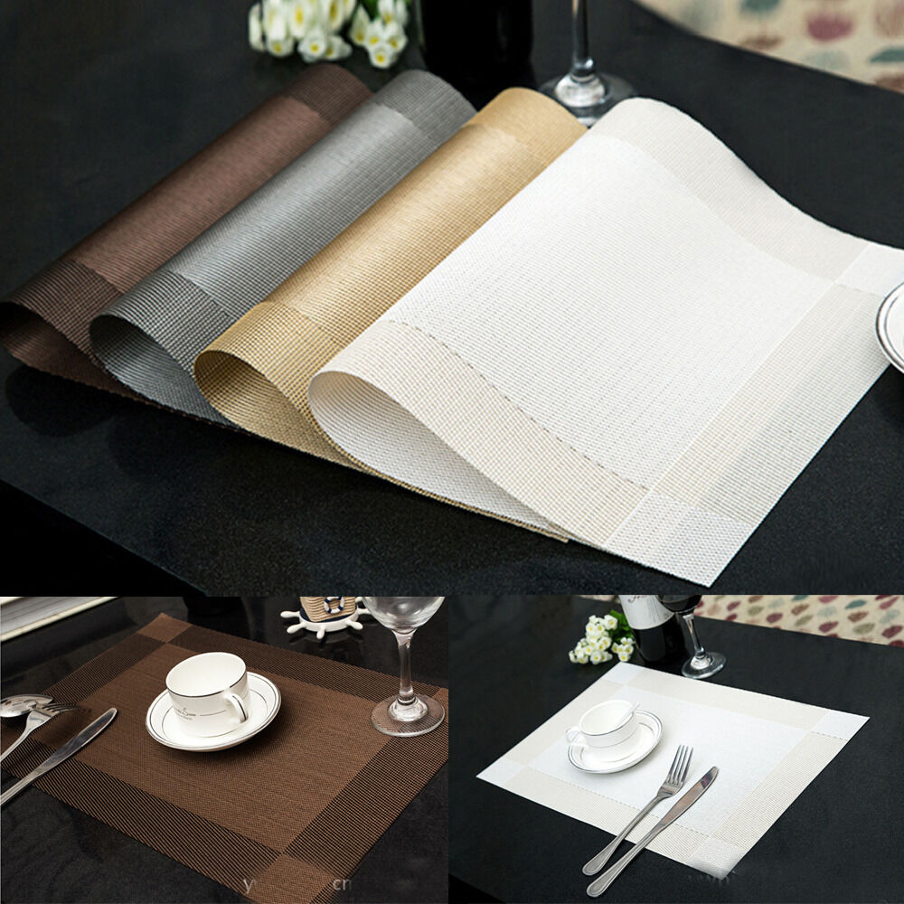 Lot 4pcs pvc insulation bowl placemats dining room pad western table mats ebay - Dining room table mats ...