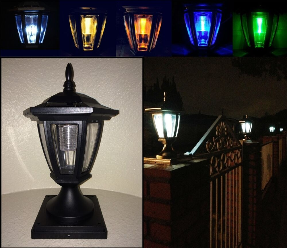Solar Light Black Post Cap Color LED 4x4 /5x5 / 6x6 Or