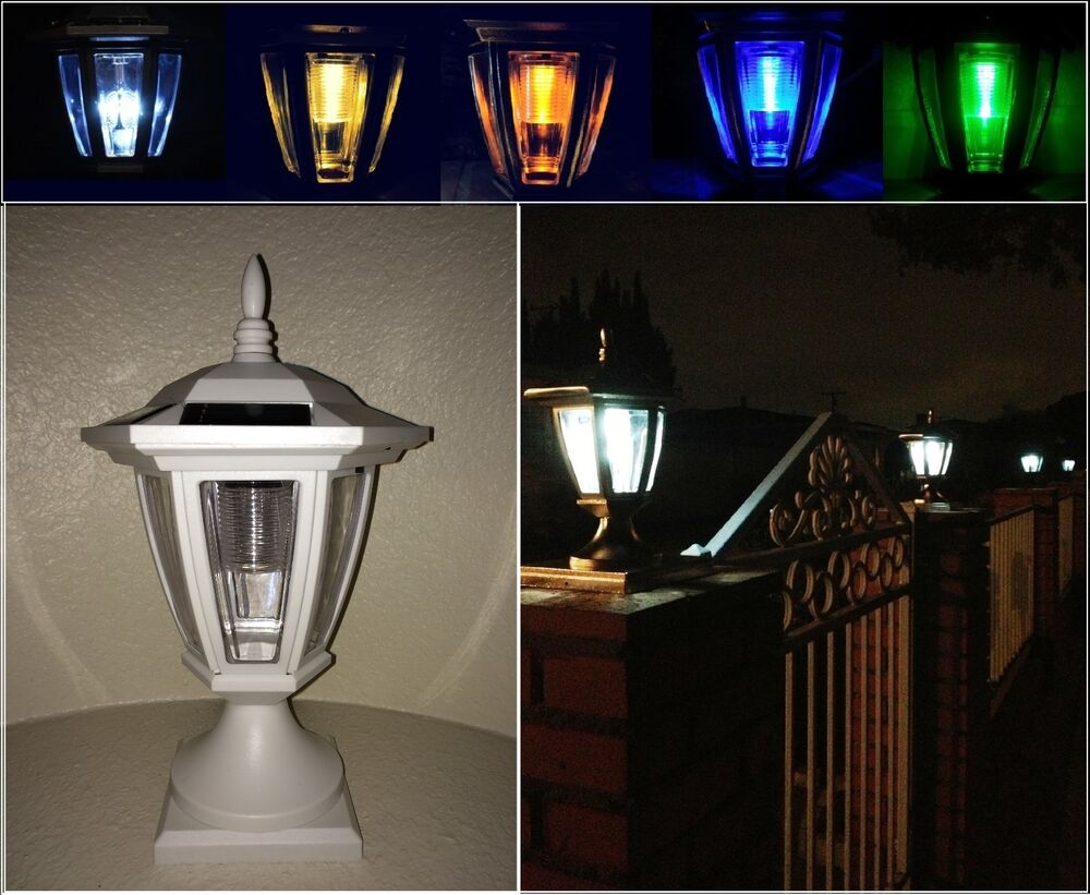 Solar Light White Post Cap Color Led 4x4 5x5 6x6 Or