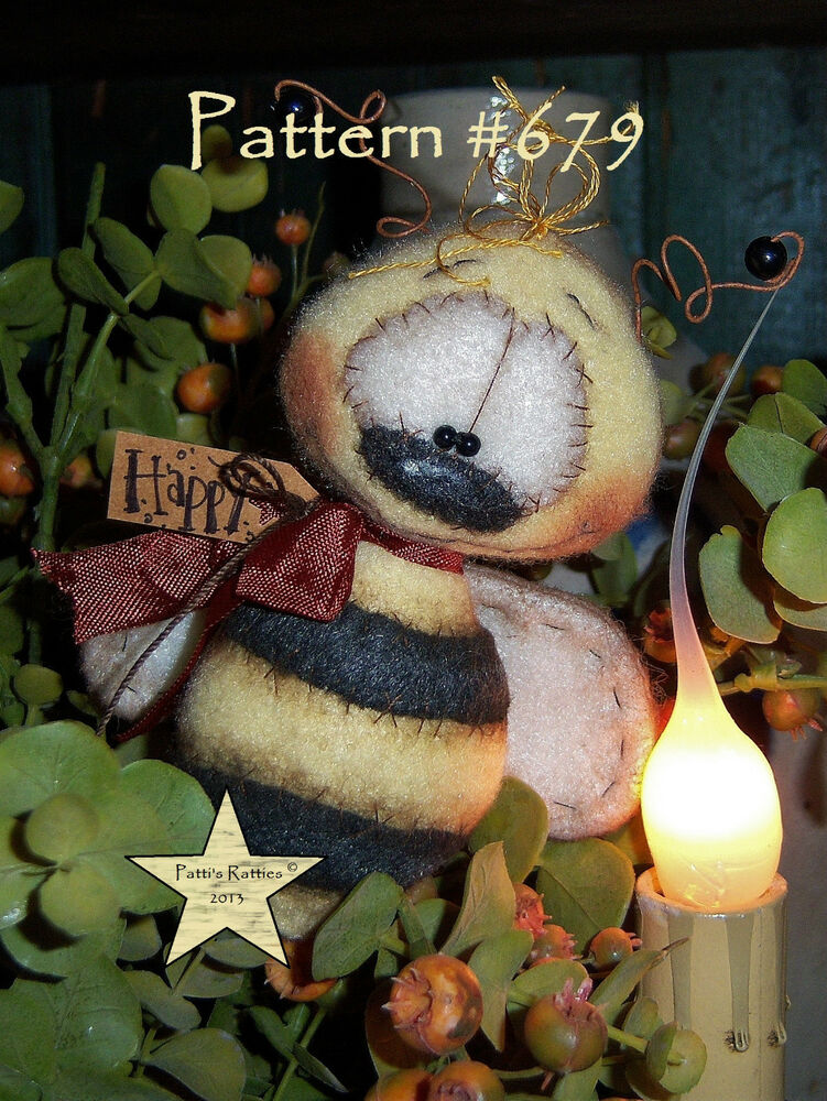 "Patti's Ratties Primitive Bumble Bee Bug Ornament 4"" Doll ..."