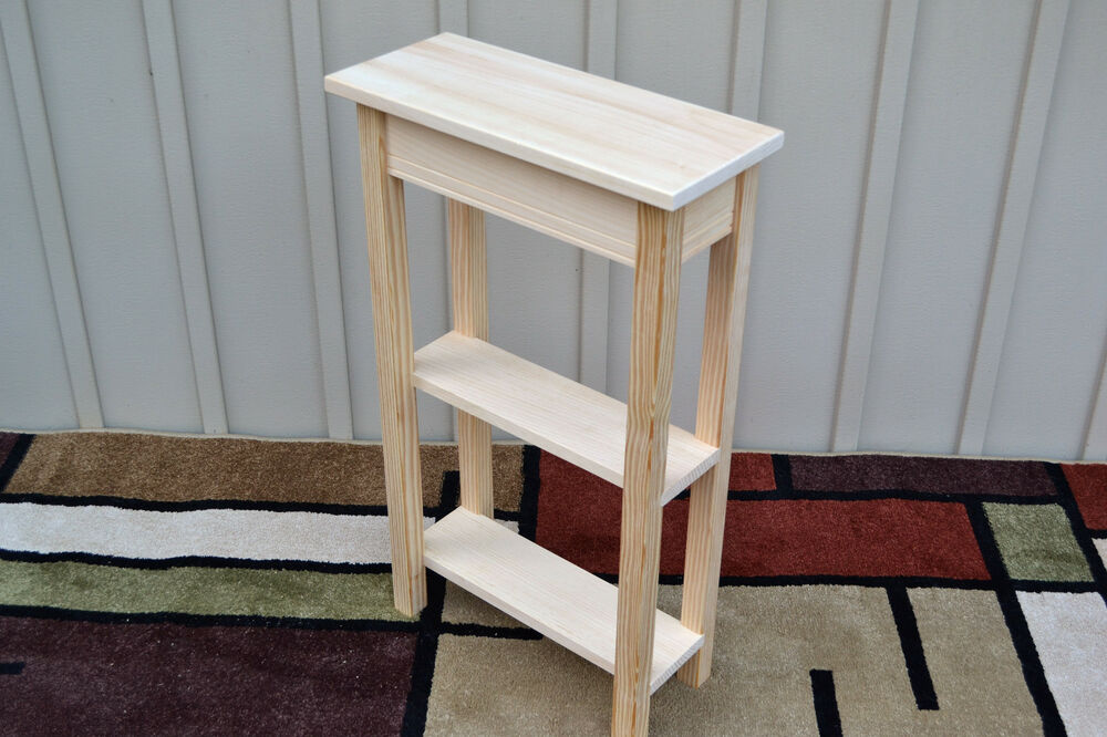 Unfinished 18 narrow console sofa shaker square edge for Narrow console table with shelves