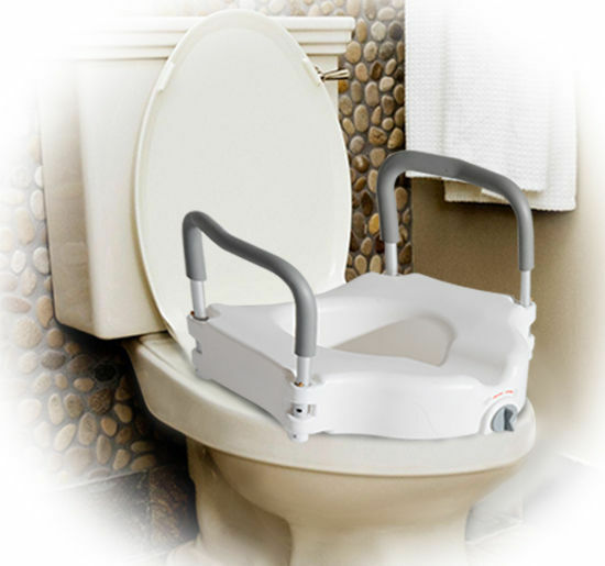 Homcom Raised Toilet Seat Padded W Arms Lock White