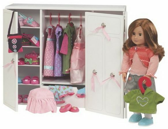 Our Generation Wooden Wardrobe 18 Inch Doll Clothes Shoes
