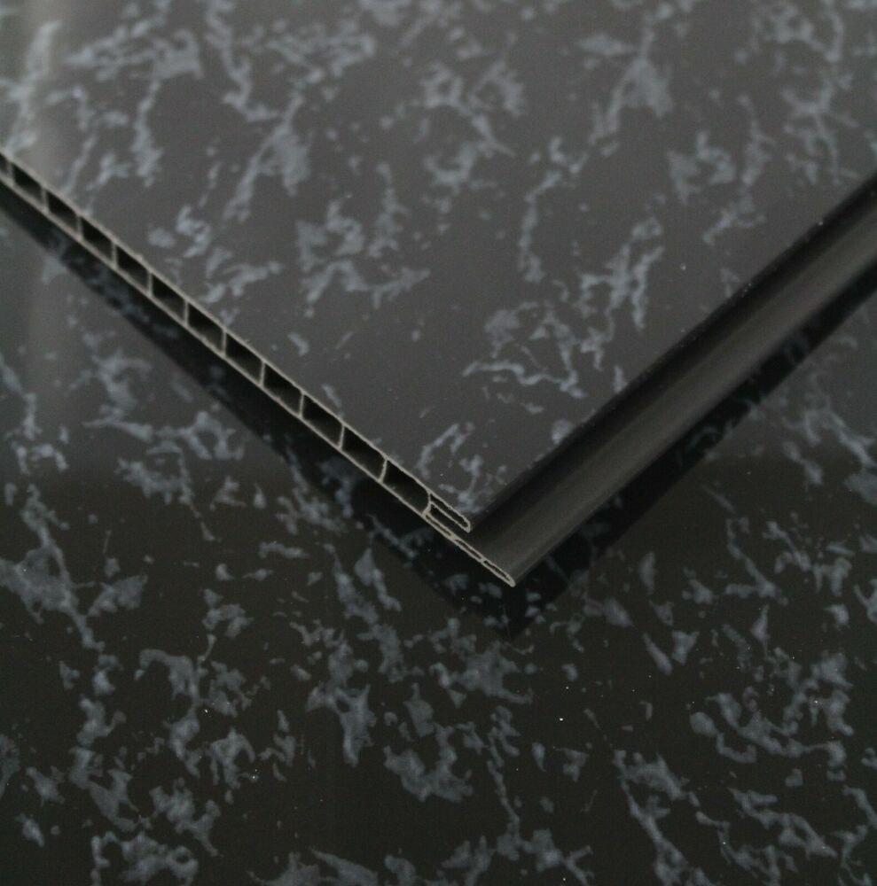 Marble Wall Cladding Services : Black marble pvc bathroom wall cladding mm for wet