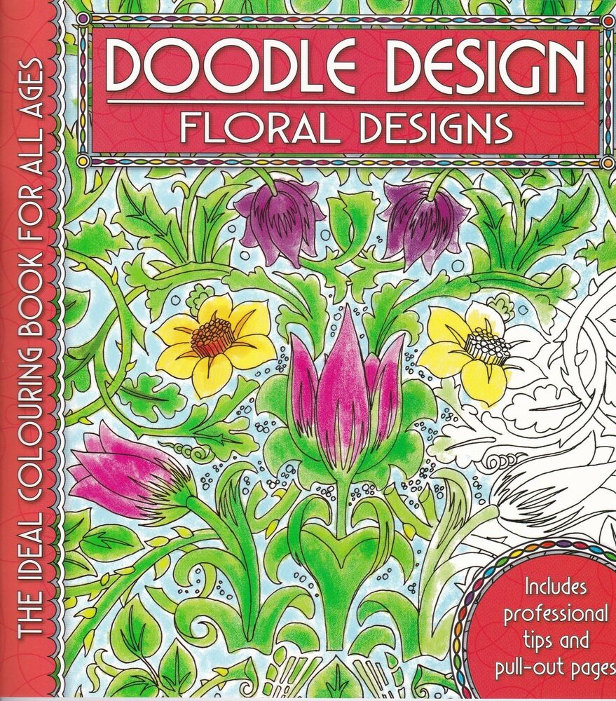 Floral flowers colouring book doodle design art for Garden 50 designs to help you de stress colouring for mindfulness