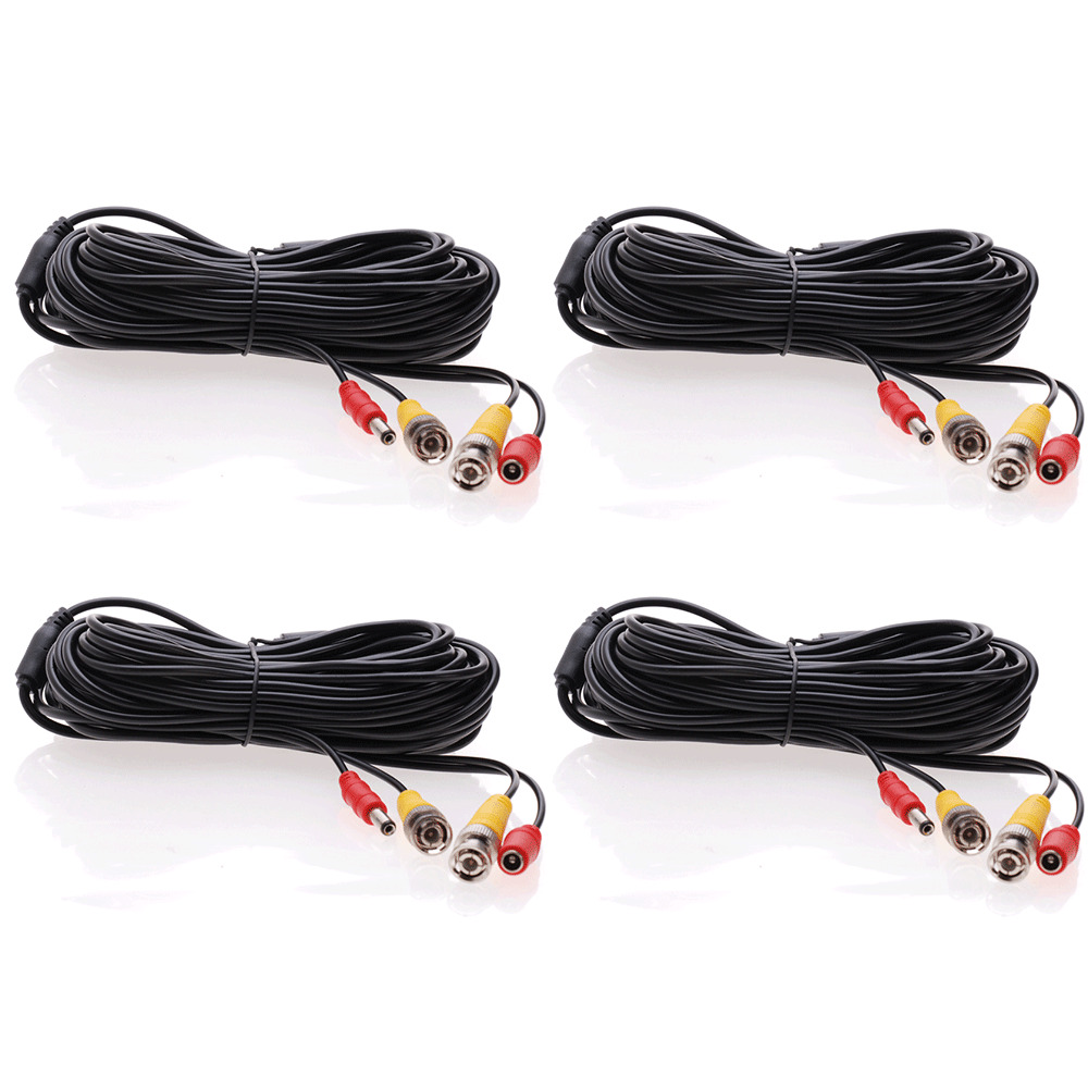 4 Lot 10ft Security Camera Cable Cctv Video Power Wire Bnc