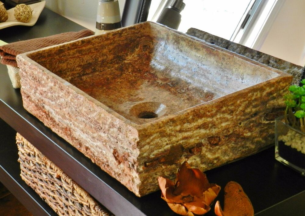 Natural Stone Vessel Sink Red Travertine Marble Rustic Chiseled Bathroom Vanity Ebay
