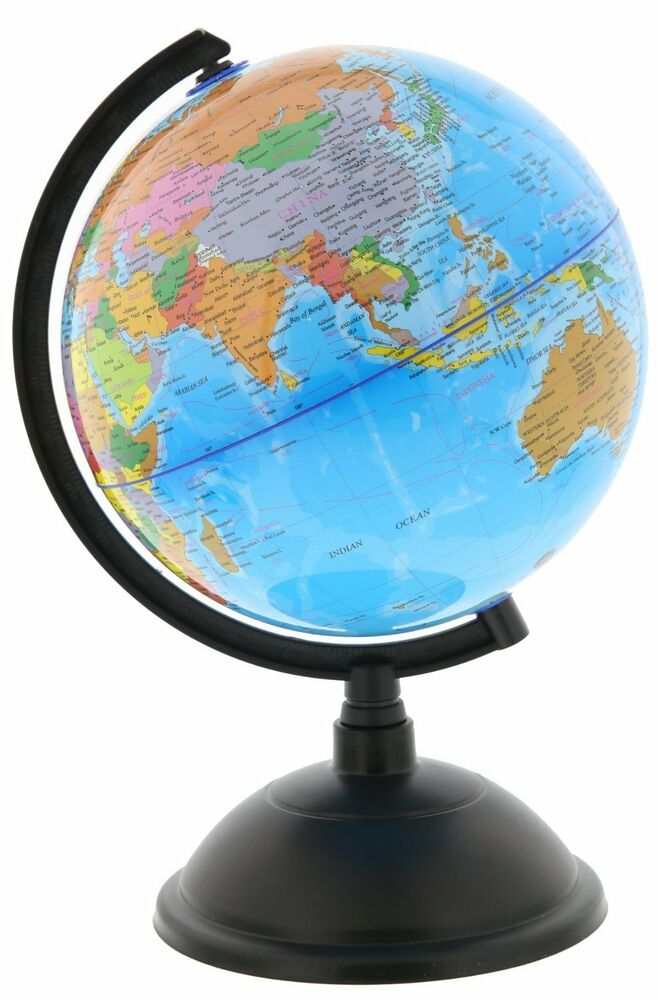 New spinning world globe desktop political globe 8 inch free shipping ebay - Globe main office address ...