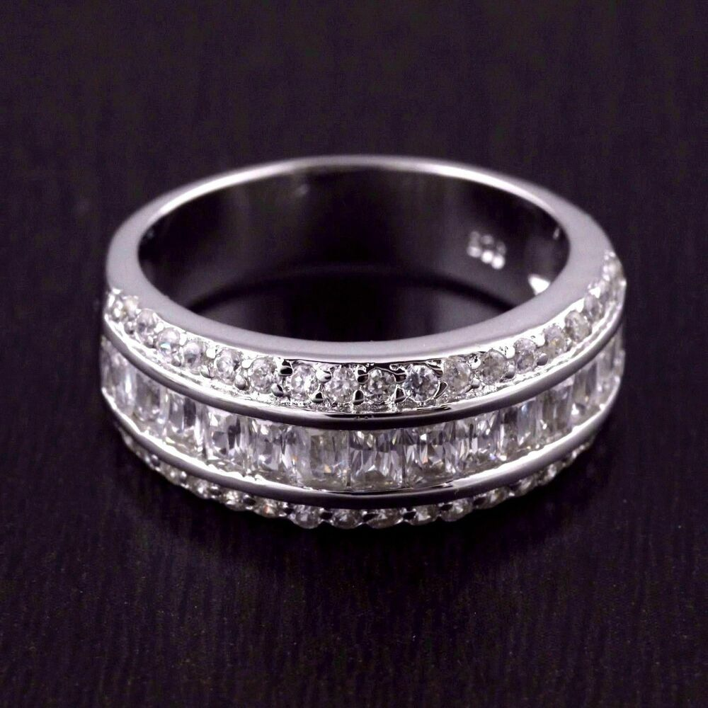 Womens 925 sterling silver cz baguette wedding band for Silver band wedding rings
