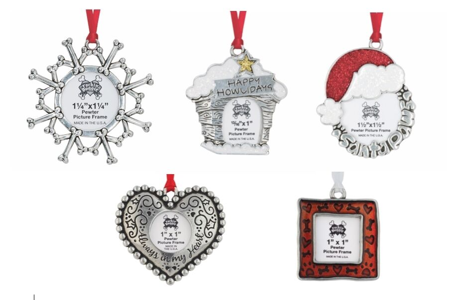 Solid pewter dog themed photo frame ornament for christmas