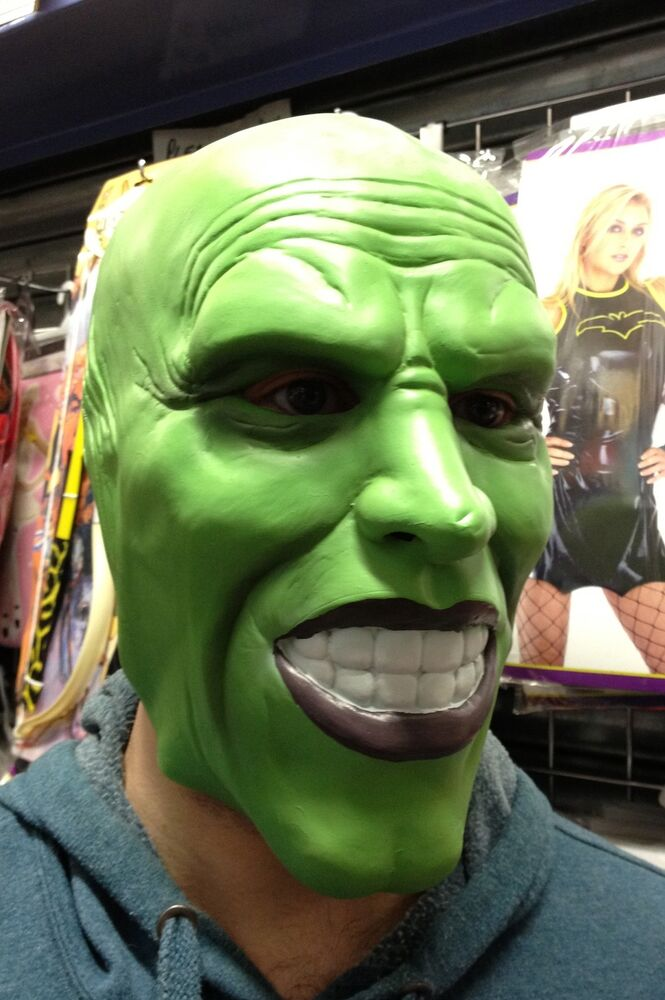 the mask dark green latex mask jim carrey costume fancy